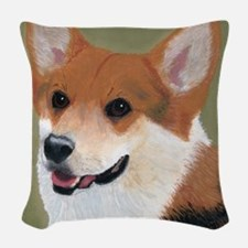 Tri Colored Corgi 2 Woven Throw Pillow