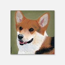 """Tri Colored Corgi 2 Square Sticker 3"""" x 3"""""""