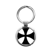 10x10-Cross-Pattee-Heraldry Round Keychain