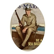 WWI Marines Sea Soldier Poster Oval Ornament