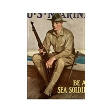 WWI Marines Sea Soldier Poster Rectangle Magnet
