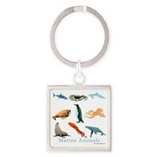 Marine Animals-10x10_apparel Square Keychain