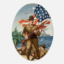 WWI U.S. Marines Recruitment Poster Oval Ornament