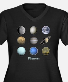 Planets-10x1 Women's Plus Size Dark V-Neck T-Shirt