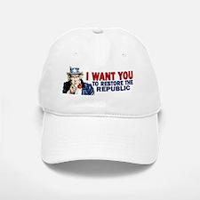 10x3_sticker_i_want_you_republic Baseball Baseball Cap