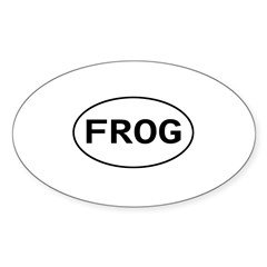 FROG - Knitting - Crocheting Oval Decal