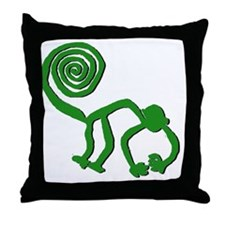 lime green monkey Throw Pillow