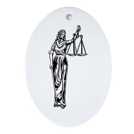 Blind Justice Oval Ornament