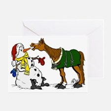 Horse and Snowman Greeting Card