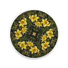 """Daylily Yellow 3.5"""" Button"""