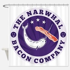 the narwhal whale bacon company Shower Curtain