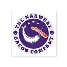 "the narwhal whale bacon com Square Sticker 3"" x 3"""