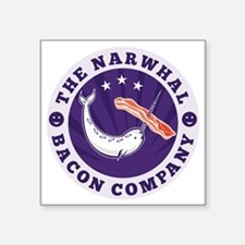 """the narwhal whale bacon com Square Sticker 3"""" x 3"""""""