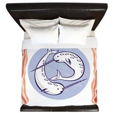 narwhal whales with bacon King Duvet