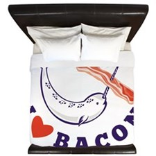 narwhal whale i love bacon King Duvet