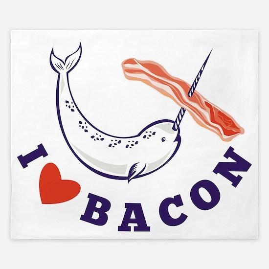 narwhal whale i love bacon King Duvet