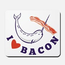 narwhal whale i love bacon Mousepad