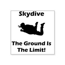 "Dry Skydive Ground Limit Bl Square Sticker 3"" x 3"""