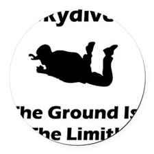Dry Skydive Ground Limit Black Round Car Magnet