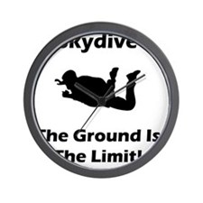 Dry Skydive Ground Limit Black Wall Clock