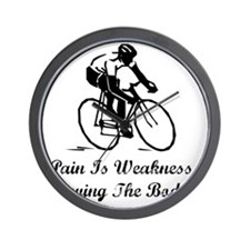 Dry Pain Is Weakness Black Wall Clock