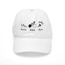 Dry Swim Bike Run Black Baseball Cap