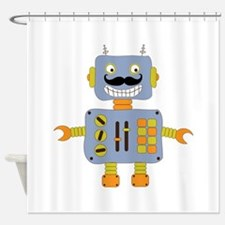 Mobot Moustache Robot Shower Curtain