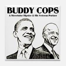 Obama Biden Buddy Cops Tile Coaster