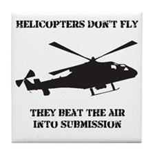 Dry Helicopter Submission Black Tile Coaster