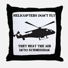 Dry Helicopter Submission Black Throw Pillow
