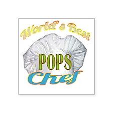 """WORLDS BEST POPS / CHEF Square Sticker 3"""" x 3"""""""