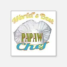 """WORLDS BEST PAPAW  CHEF Square Sticker 3"""" x 3"""""""