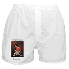 WWJD_Black Text Boxer Shorts