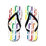 Hockey stick rainbow Flip Flops