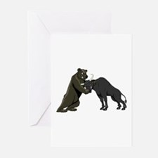 Bull vs. Bear Markets Greeting Cards (Pk of 10