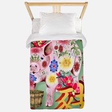 Year Of The Pig In Flowers - PosterP Twin Duvet