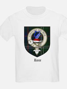 Rose Clan Crest Tartan Kids T-Shirt
