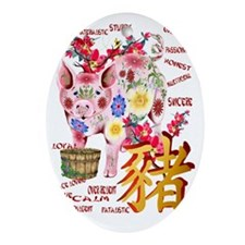 Year Of The Pig - Trans Oval Ornament