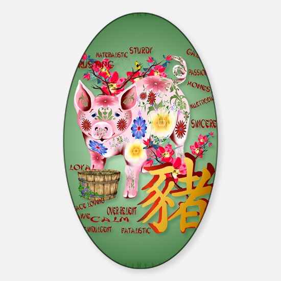 LargePosterYear Of The Pig In Flowe Sticker (Oval)