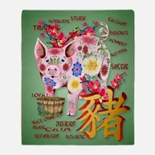 LargePosterYear Of The Pig In Flower Throw Blanket