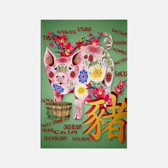LargePosterYear Of The Pig In Flo Rectangle Magnet
