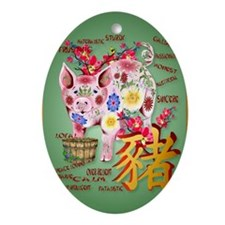 LargePosterYear Of The Pig In Flower Oval Ornament