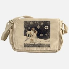 jack russell in the snow Messenger Bag
