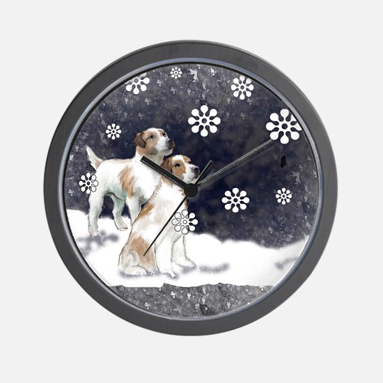 jack russell in the snow Wall Clock