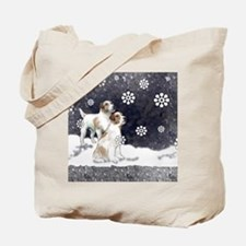 jack russell in the snow Tote Bag