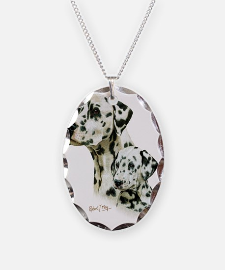 Dalmatian  Pup Necklace Oval Charm