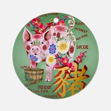 CalenderYear Of The Pig In Flowers Round Ornament