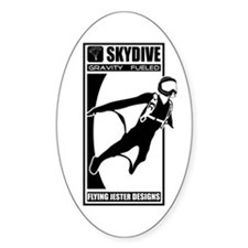 Gravity Fueled Wingsuit Skydiving Oval Decal