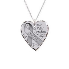 I Wear Grey Because I Love My Necklace Heart Charm