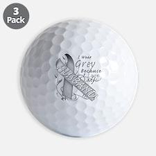 I Wear Grey Because I Love My Husband Golf Ball